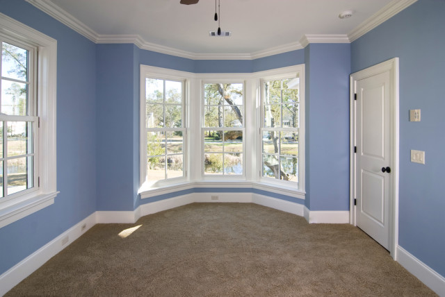 blue bedroom windows crown moldings