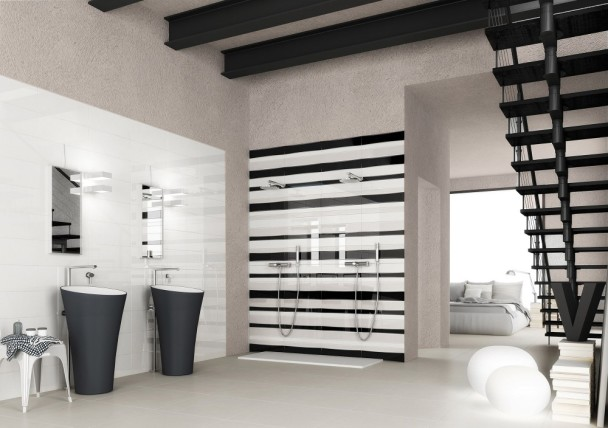 ultra modern bathroom featuring modern subway tile