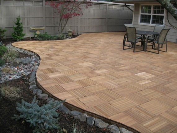 interlocking wood deck tiles real wood XL series