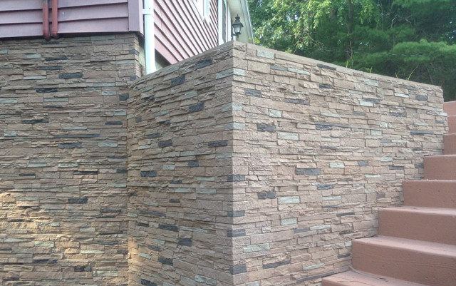Slate stone rose panel faux stone siding