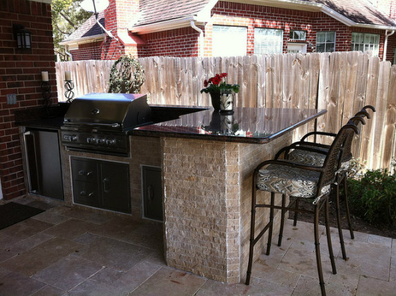 outdoor kitchen bar and cook area