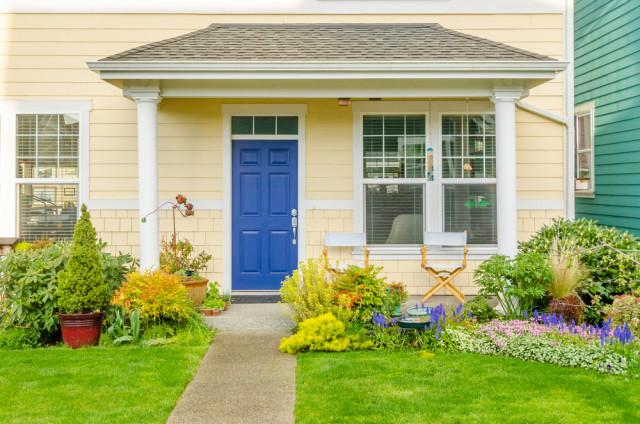 front door walk blue door front lawn