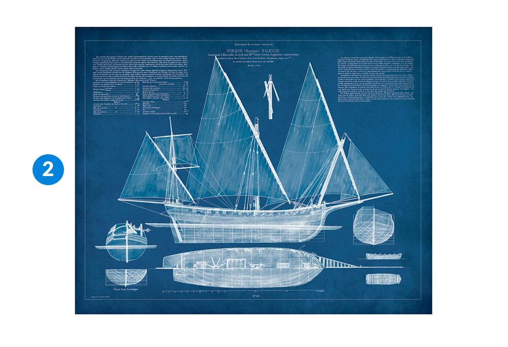 Kate and Laurel Canvas Art Antique Ship Blueprint