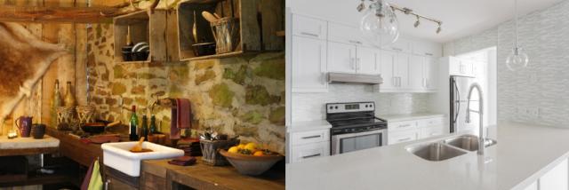 rustic kitchen vs modern kitchen