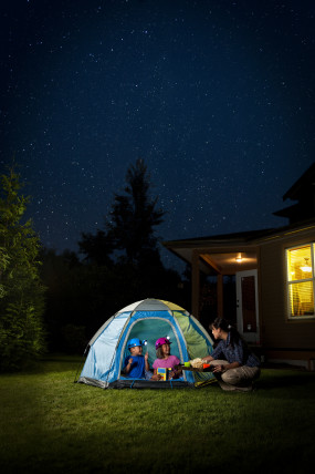 kids camping outside