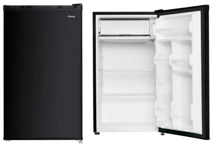 front and inside of compact danby fridge