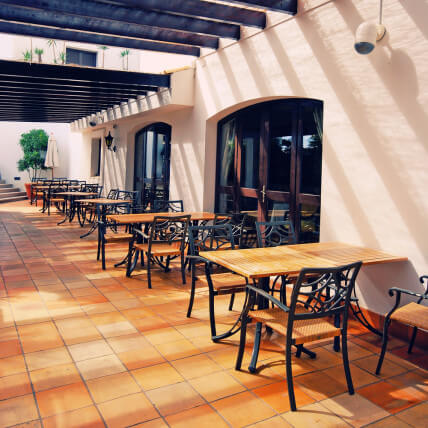 tiled outdoor bistro