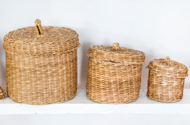 baskets on shelf