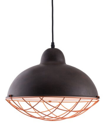 black and copper pendant light