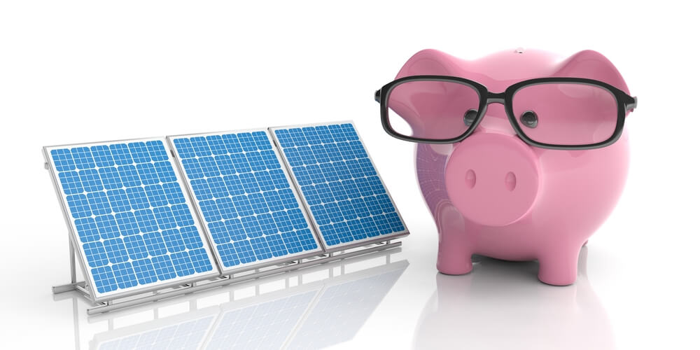 solar panel and piggy bank