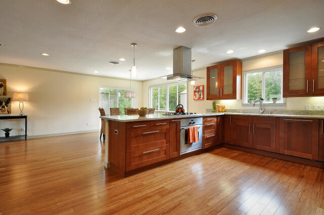 kitchen with bamboo floor