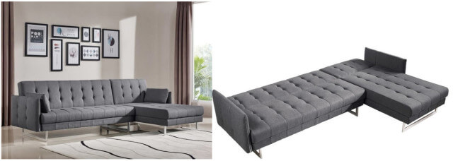 VIG Furniture Grey Fabric Sectional Sofa Bed SKU: 15257931