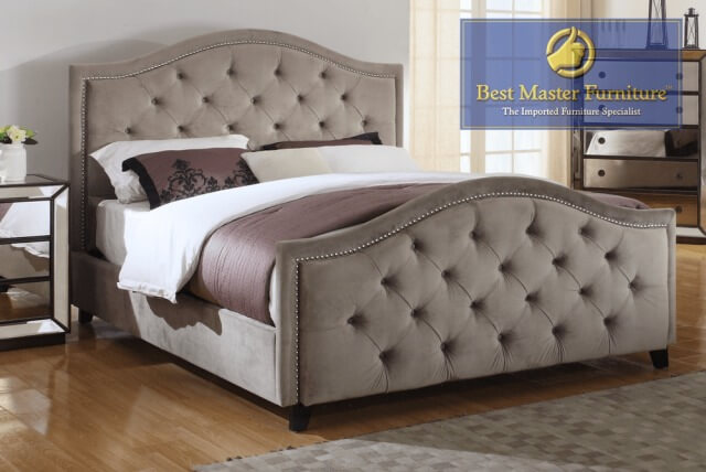 Best Master Furniture Otter Fabric Upholstered Queen Bed w/ Nailheads SKU: 15250611