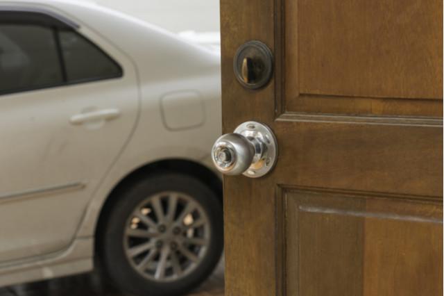 secure door to garage